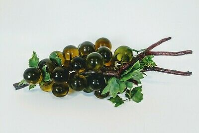 """Vintage Acrylic Glass Grape Cluster Green Lucite Wood Stem 1960s 16"""" Mid Century"""