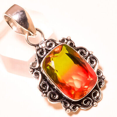 """Faceted Multi Tourmaline Gemstone 925 Sterling Silver Pendant 1.8"""" 8399"""
