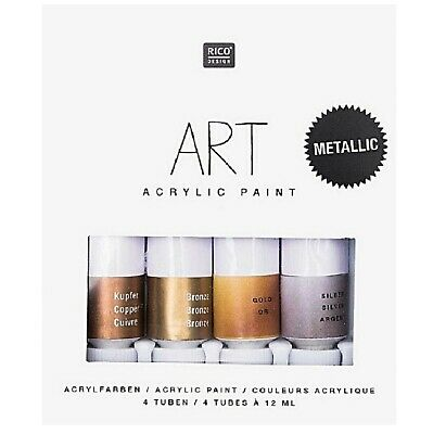 (10,10€/100ml) Rico Design Art Künstlerfarben Metallic Set 4 x 12 ml Acrylfarbe