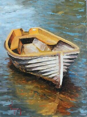 marine art oil painting calm boat and reflection original by artist 9x12 signed
