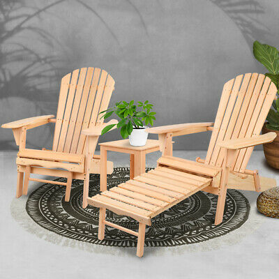 3-Piece Adirondack Chair Set Outdoor Beach Furniture Pool Garden Lounge Foldable