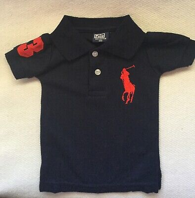 NEW POLO RALPH LAUREN BABY SZ 000 NAVY SHIRT 100% Cotton
