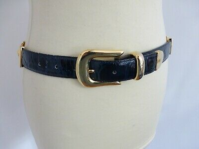 Vintage 90s Avanti blue croc leather gold lion medusa head belt 37 – 43 inch VGC