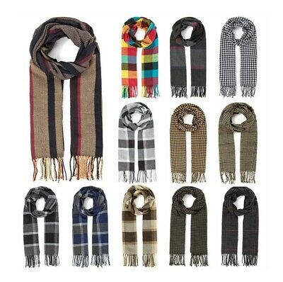 Women Lady Winter Warm Scarves Cashmere Long Wrap Shawl Plaid Knit Checked Scarf