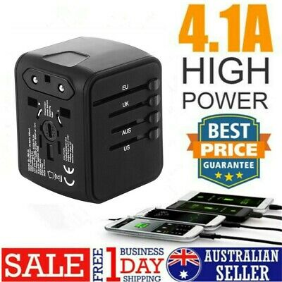 4 USB Port International Charger Plug Converter Travel Adapter Universal Adaptor