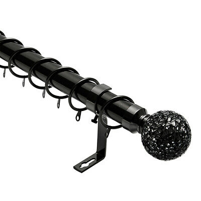 Black Mosaic Extendable Metal Curtain Pole Finals.Rings & Fittings 28mm