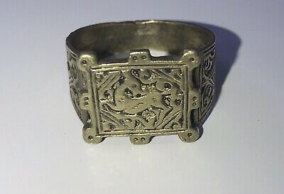 Rare Islamic Brass Ring Old Afghan /persian Antique Deer Carved Engraved Ring