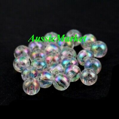 100 x beads acrylic plastic clear ab colour colourful round loose spacer 6mm new