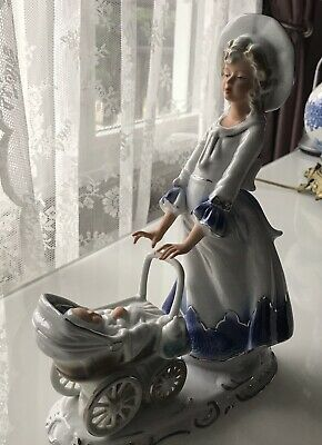 Vintage Beautiful Rare Porcelain Figure Statuette Woman with Baby Stroller