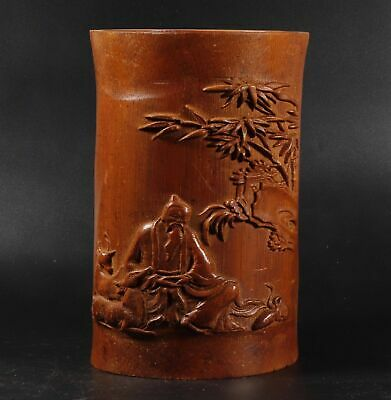 Chinese Exquisite bamboo Carved Brush pot