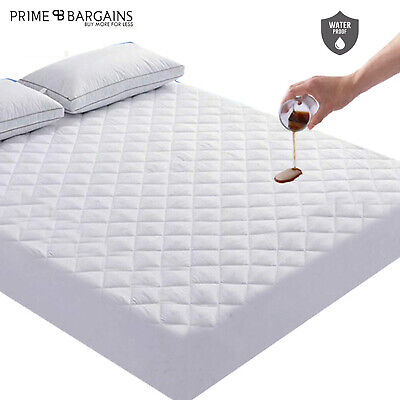 Single Double Waterproof Mattress Protector Cover Deep Fitted Sheet Pillow Cases