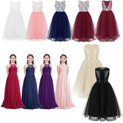 Lace Top Flower Girl Dress Kid Pageant Formal Wedding Bridesmaid Gown Prom Dress