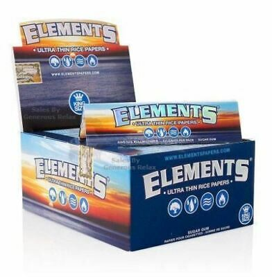Lot Of 5 Elements King Size Slim Ultra Thin Rice Rolling Paper Classic Smoking !