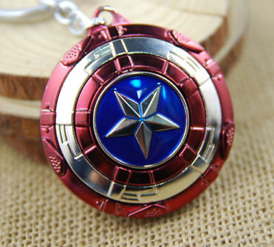 US Seller Captain America Shield Cosplay Keyring Rotatable Star Alloy Keychain