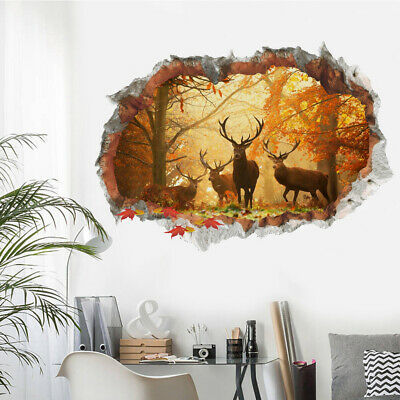 Forest Deer Wall Stickers 3D Removable Wall Decals Mural Living Room Home Decor