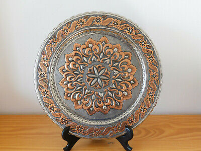 c.19th - Rare  Antique Persian Middle Eastern Tinned Copper Plate Charger