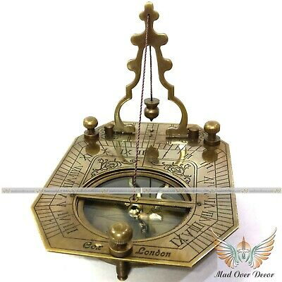 Vintage Brass Handcrafted Antique Style Working Marine F.cox Sundial Compass