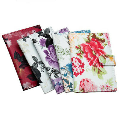 Fashion Faux  leather Peony Flower Travel Passport Holder Case Cover Wallet WL