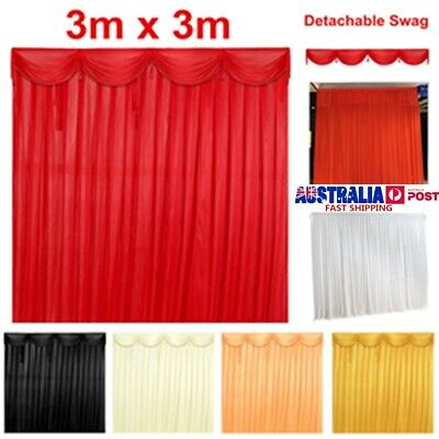 3x3M Silk Satin Curtain Stage Backdrop Detachable Drape Wedding Party Decoration