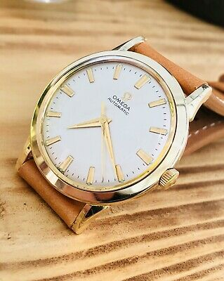 Omega Classic 1963 Mens Gents Vintage 14K Gold Capped Dial Watch Automatic Box