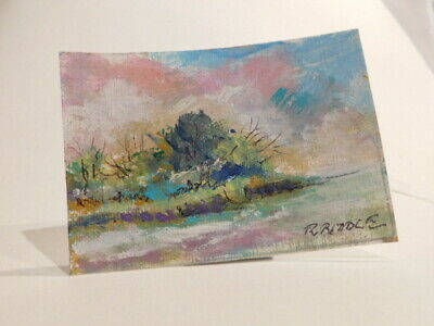 ACEO Landscape Original Acrylic by Robert Riddle 2 X 3 Inches