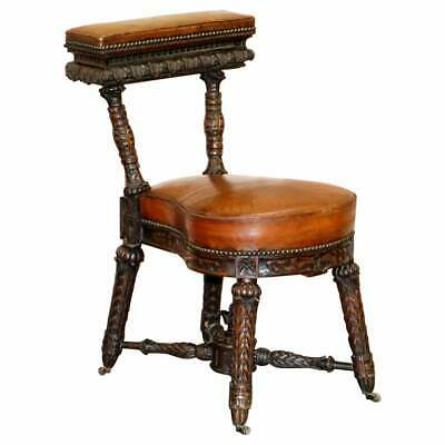 Heavily Carved Metamorphic Cock Fighting Chair Circa 1850 Brown Leather Drawers