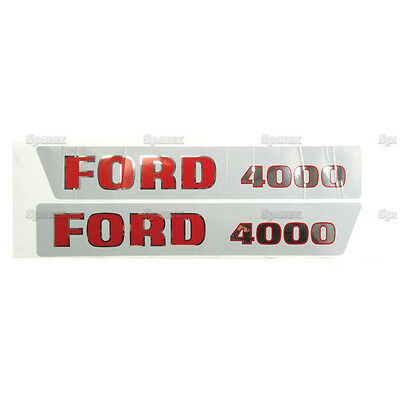 New Ford 4000 Hood Decal Set (Red/Black Letters)