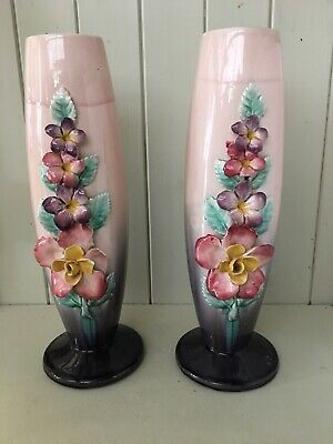 Large Pair Of Antique / Vintage French Ceramic Vases Pink Purple Flowers Decor