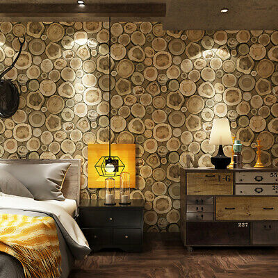 Waterproof Retro Wallpaper Roll Growth Ring Pattern for Home Wall Decoration