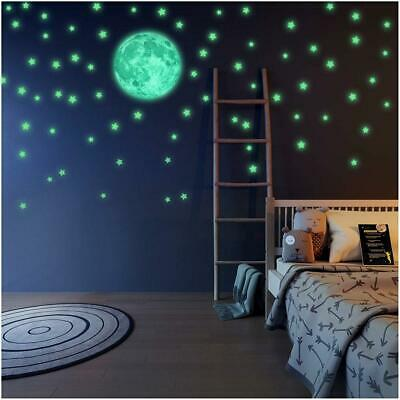 LIDERSTAR - Glow in the Dark Stars and Moon Wall Stickers With Free...