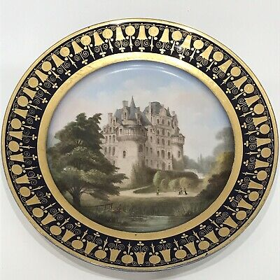 Antique 19thc SEVRES style topographical cabinet plate Chateau De Brillac 1835