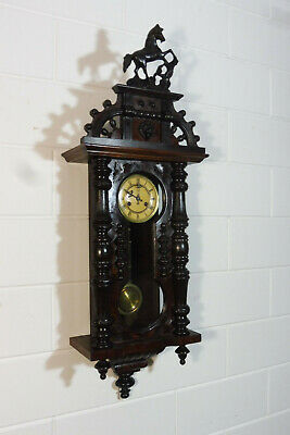 Antique Wall Clock Regulator Mahogany Wood Old clock Vintage