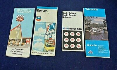 Vintage Gas & Oil Road Maps 1970'S, Standard, Chevron, Phillips 66, Mobil, Lot/4