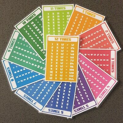 A7 Laminated Times Tables Flash Cards Maths Multiplication Educational Resource