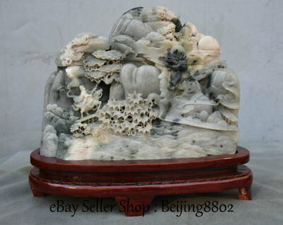 """13"""" Natural Dushan Jade Hand Carved Warrior Ride Horse Hill Water Dragon Statue"""