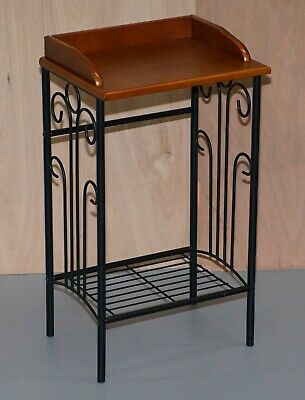 Wrought Iron Lamp End Side Wine Table Jardiniere Stand Nice Size Natural Style
