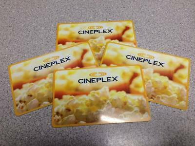 Four (4) $25 Cineplex Cards - $100 Total - Lot 2