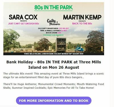 3 X 80s IN THE PARK  Festival tickets, Monday 26th August 2019