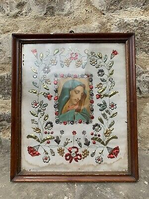 Incredible Original Italian Sampler Embroidery Folk Art Virgin Mary