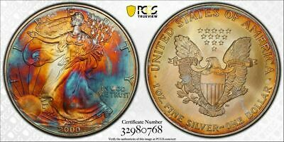 2000 Silver Eagle Monster Toning PCGS MS 67 Gold Shield