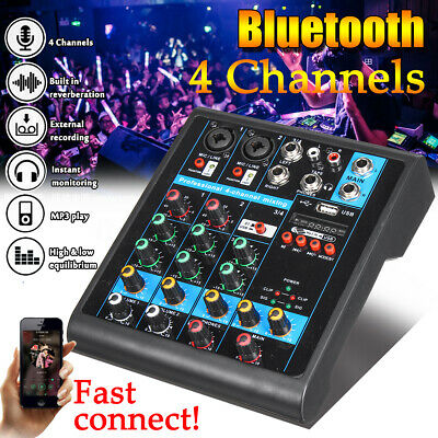 bluetooth 4 Channels Professional Mixer 48V Console Live Studio Audio Stage