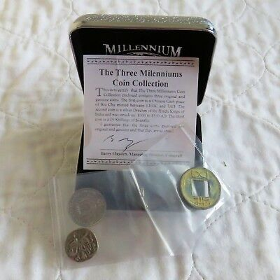 The Three Milenniums Coin Collection With Silver Drachm And Chinese Cash