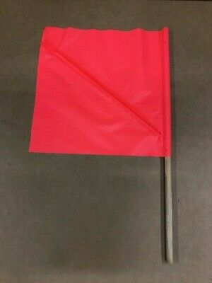 4 Each Included 24x 24 Mesh Material w//30 Dowel Orange Safety Flag with Handheld Wooden Dowel