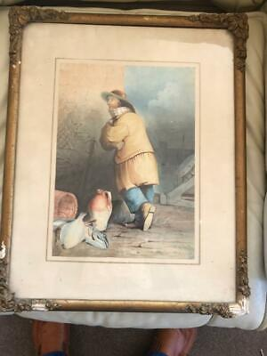 ANTIQUE 19th CENTURY ENGLISH SCHOOL FISHERMAN WATERCOLOUR PAINTING.