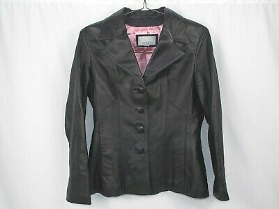 WILSONS LEATHER Maxima Womens Black 100% Leather Jacket Sz M Lined Button Coat