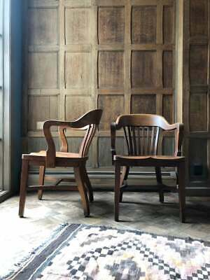 PAIR of Oak Library Chairs, Vintage Bankers Chair, Antique Oak Desk Chair