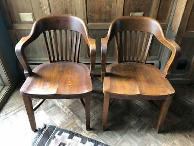 PAIR of Oak Jury Chairs, Vintage Bankers Chair, Antique Oak Library Chairs, Pair