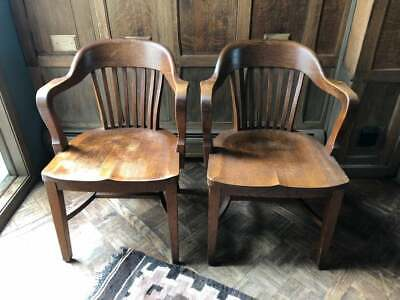 PAIR of Oak Bankers Chairs, Vintage Library Chairs, Antique Oak Desk Chair