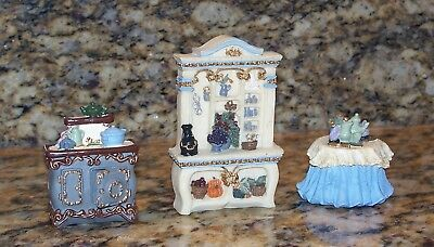 Dollhouse Miniature Victorian Kitchen Furniture Table, Hutch, Cast Iron Stove