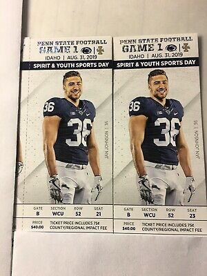 Penn State vs Idaho tickets(2) with Parking Pass and chair back seats
